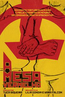 Small cartaz a mesa vermelha